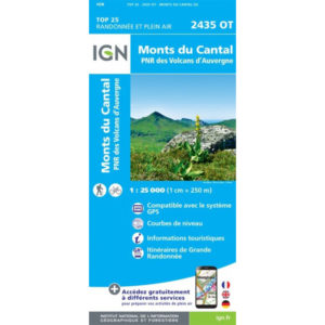 Carte IGN 2435OT Monts du Cantal