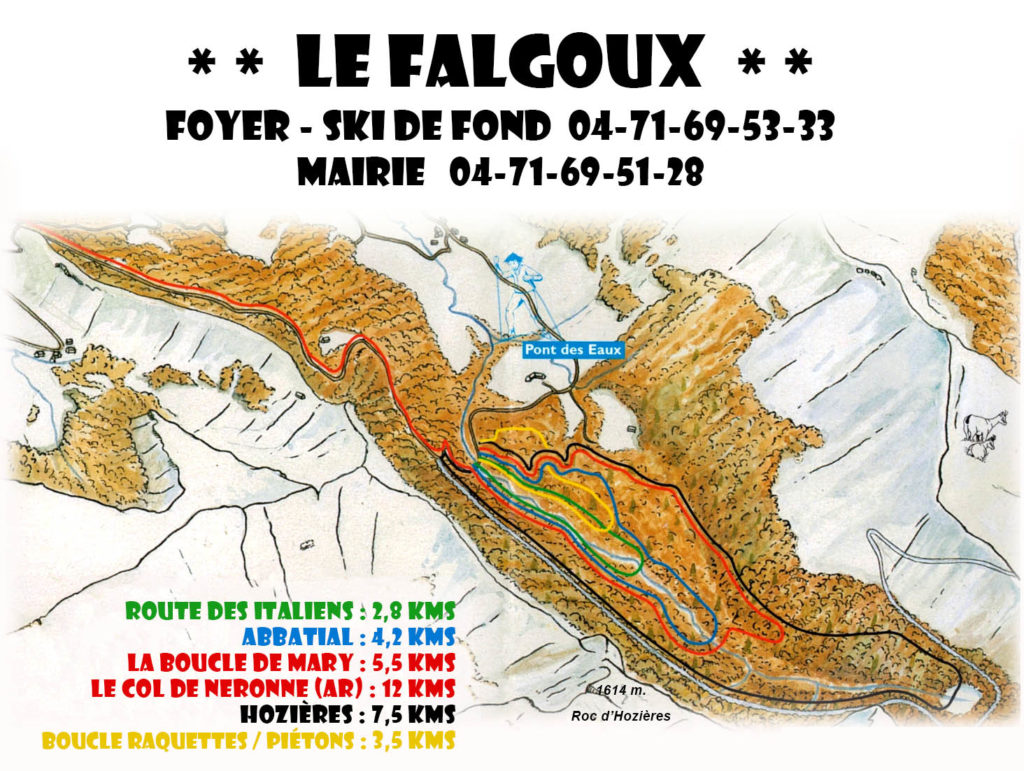 Plan des pistes du Falgoux