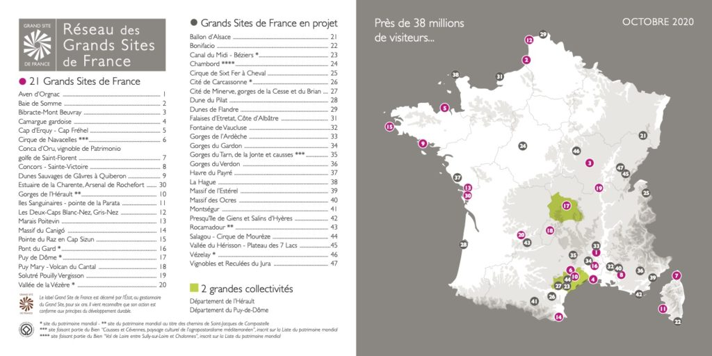 Carte du Réseau des Grands Sites de France