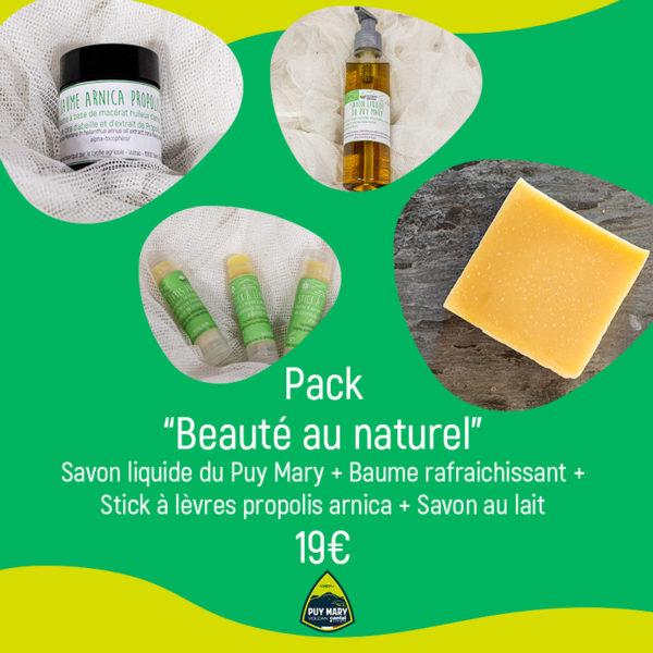 Pack beauté au naturel : Savon liquide du Puy Mary + Baume rafraichissant + Stick à lèvres propolis arnica + Savon au lait