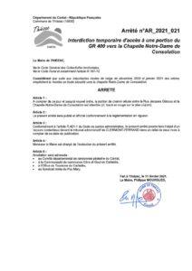 Arrêté temporaire d'accès à la portion du GR®400 menant à La Chapelle Notre-Dame de Cosolation