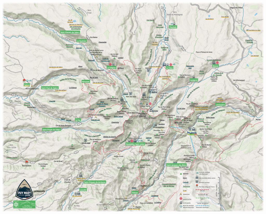 Carte découverte du Grand Site de France Puy Mary - Volcan du Cantal
