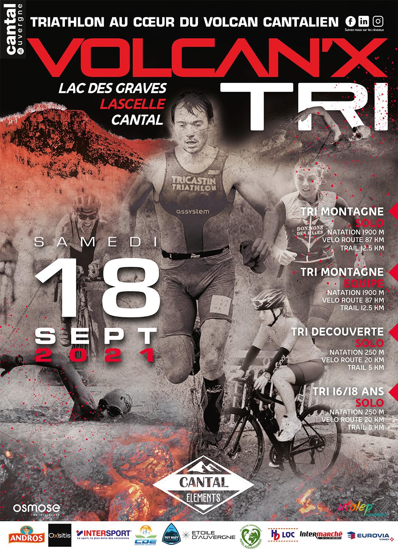 Affiche Volcan'x triathlon 2021